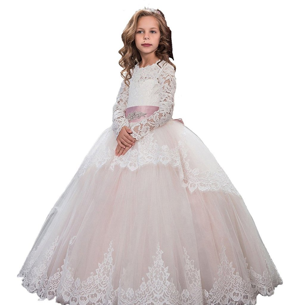 Banfvting Lace Long Sleeves First Communication Dress Kids Birthday Gown With Sash by Banfvting (Image #6)