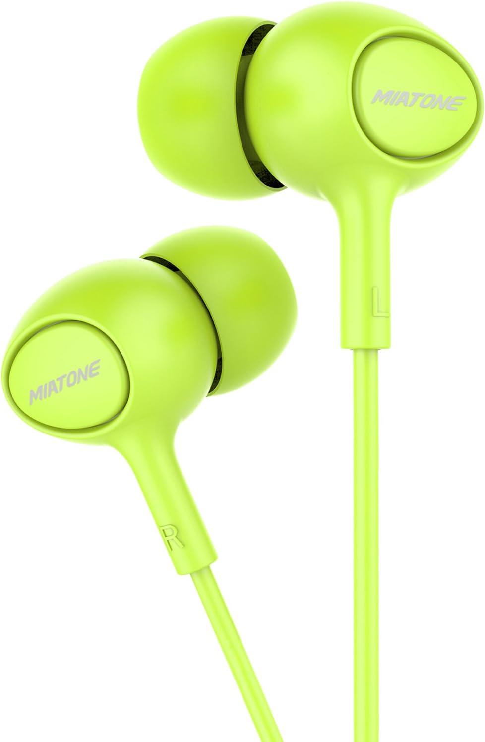 Earbuds with Microphone, MIATONE In-Ear Headphones, Wired Ergonomic Earphones Ear Buds - Green