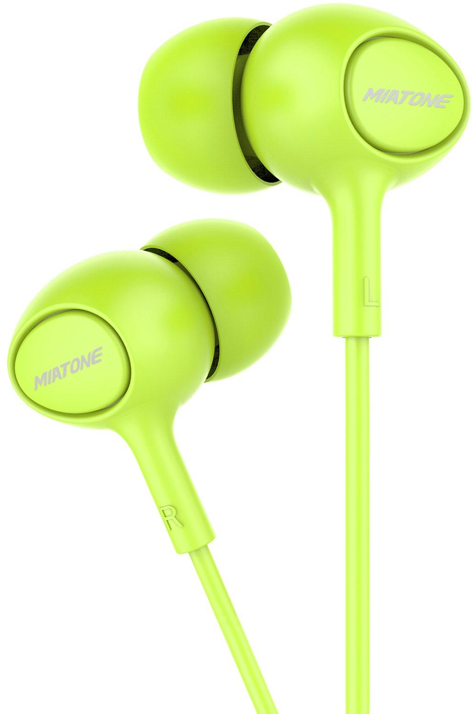 Earbuds with Microphone, MIATONE in-Ear Ear Bud Headphones Dynamic Crystal Clear Sound, Ergonomic Comfort-Fit Earphones – Green