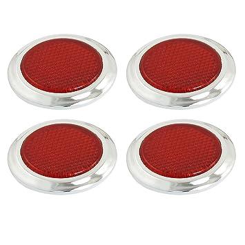 4 pcs auto car plastic round reflective reflector sticker red