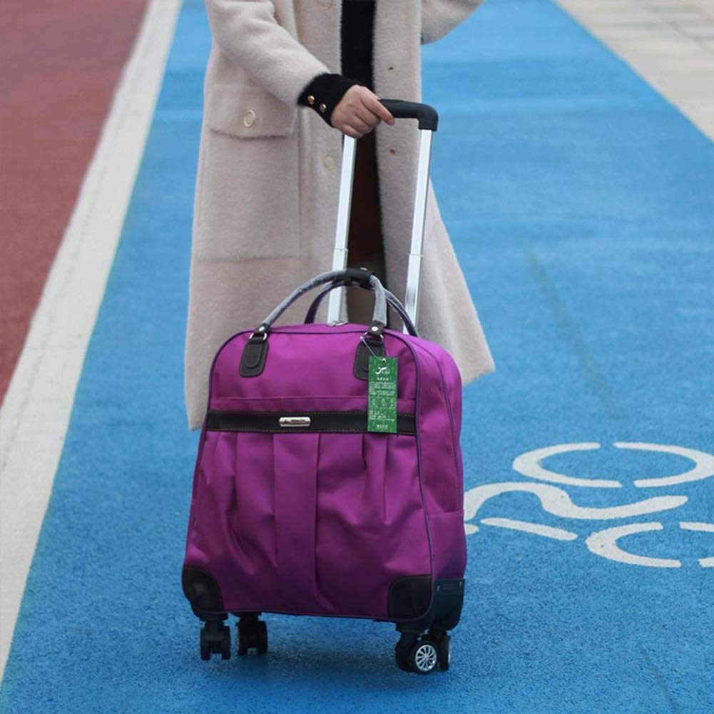 Travel Bags Soft Box Short-Distance 4 Rounds Boarding Trolley Case Luggage Suitcases Carry On Hand Luggage Durable Hold Tingting Color : Purple, Size : S