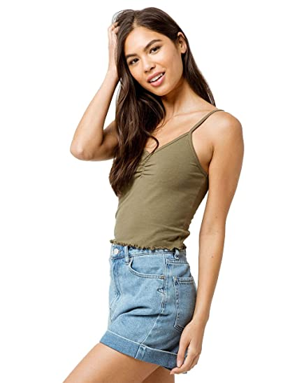 6607497d35d879 Bozzolo Cinch Lettuce Edge Olive Crop Tank Top at Amazon Women s Clothing  store