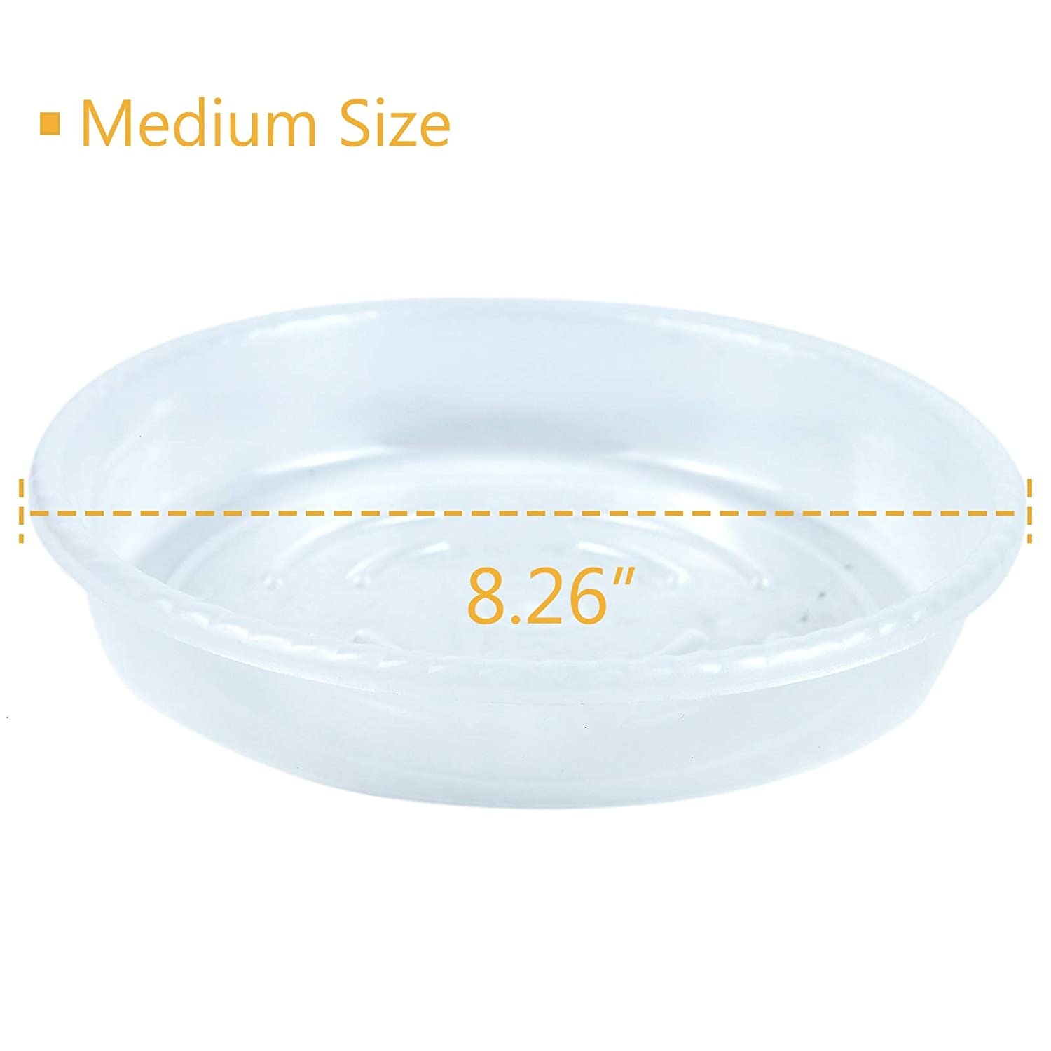 Timoo Potted Plant Saucer 15 Pack Flower Pot Tray Clear Plastic Flower Plant Saucer for Indoor and Outdoor Plants 6 inch//8inch//10inch