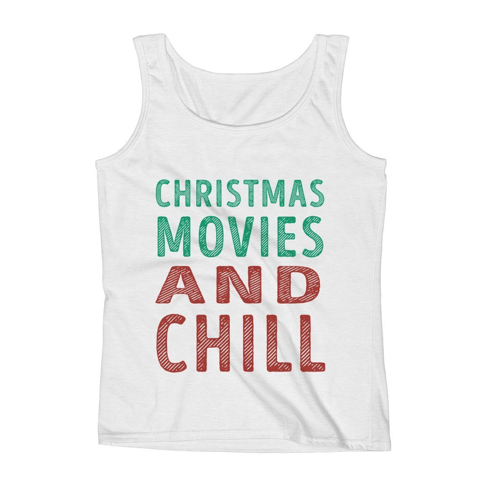 Mad Over Shirts Christmas Movies and Chill Unisex Premium Tank Top