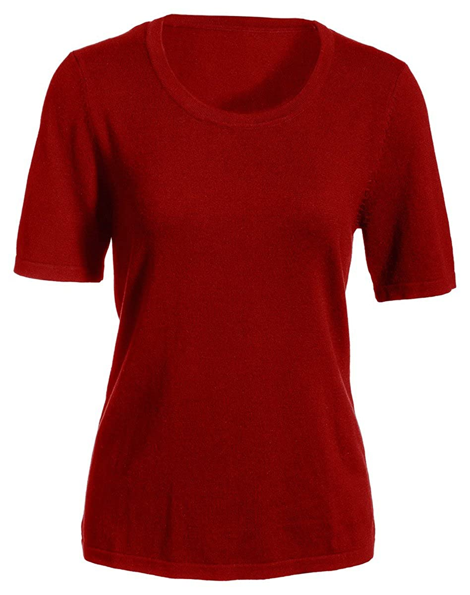 Edwards Garment Women's Tubular Cuff Hem Soft Finish Short Sleeve Sweater 7055
