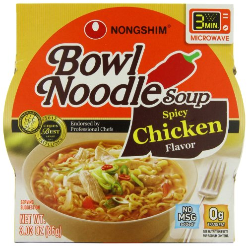 Chicken Bowl (NongShim Bowl Noodle Soup, Spicy Chicken, 3.03 Ounce (Pack of 12))