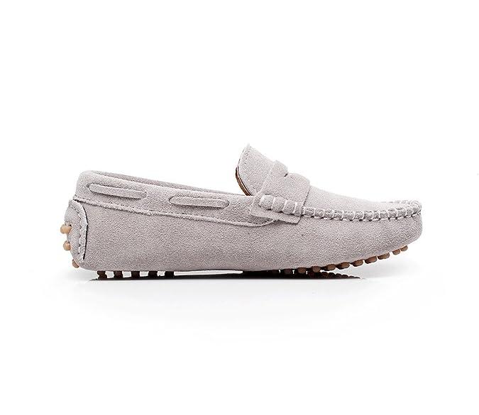 Shenn Chicos Chicas Linda Comodidad Ponerse Ante Cuero Mocasines Zapatos S8884(Marrón,EU34)