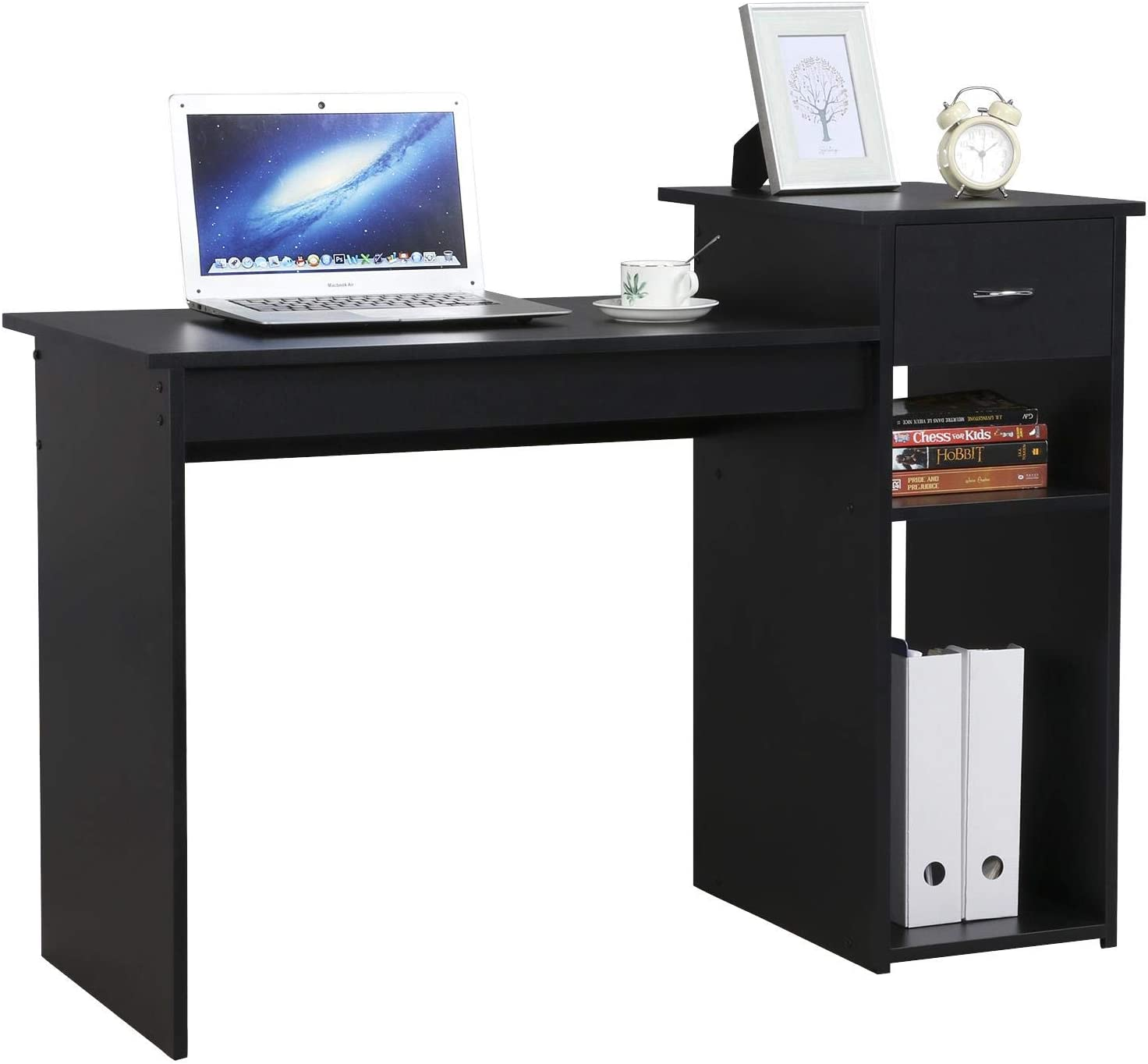 YAHEETECH Home Office Computer Desk Wooden PC Laptop Desk Study Workstation Writing Table with Storage Drawer Black