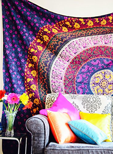 Top Or Floral Tapestry (Folkulture Retro Spectrum Bohemian Hippie Tapestry Wall Hanging for College Dorm Room, Indian Mandala Floral Bedding Bedspread for Bedroom or Beach Blanket, Queen Size Blue Purple Boho Trippy)