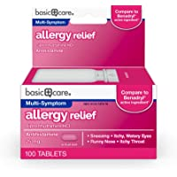 Amazon Basic Care  Allergy Relief, Diphenhydramine HCl Tablets 25 mg, Antihistamine, 100 Count