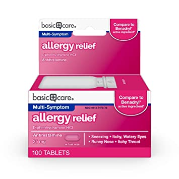 Basic Care Allergy Relief, Diphenhydramine HCl 25 mg, Antihistamine, 100  Count