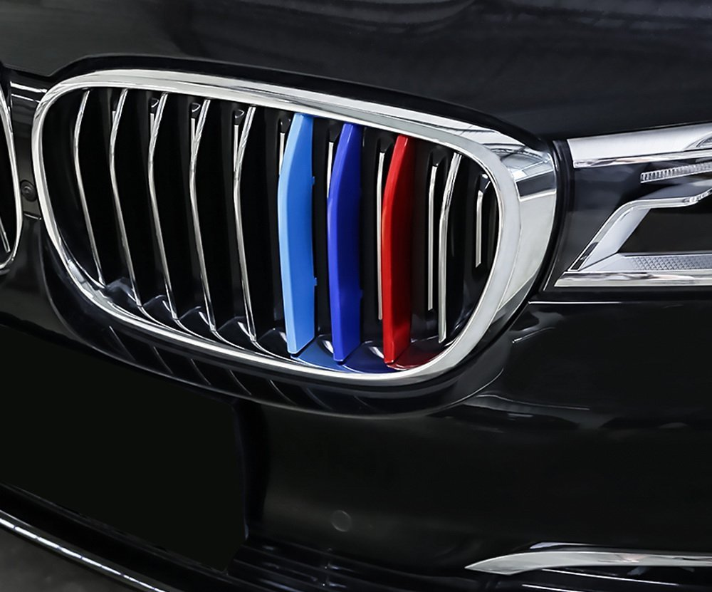 red Blue Light Blue Grille Insert Trims Decorate for 2016-2018 BMW G11 G12 7 Series 9-Beam Standard Grill lanyun M Colors