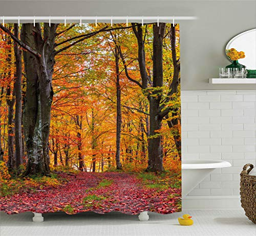 Ambesonne Autumn Shower Curtain, Fall Forest with Shady Deciduous Trees and Faded Leaf Magic Woodland Picture, Cloth Fabric Bathroom Decor Set with Hooks, 70