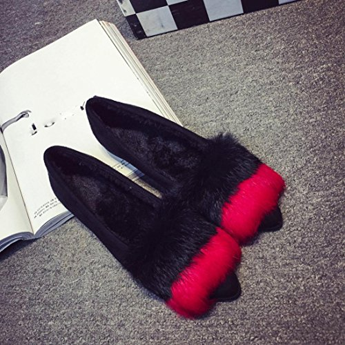 Women Shoes ,Jamicy Women Ladies Fashion Fluffy Flat Slip On Casual Shoes Red
