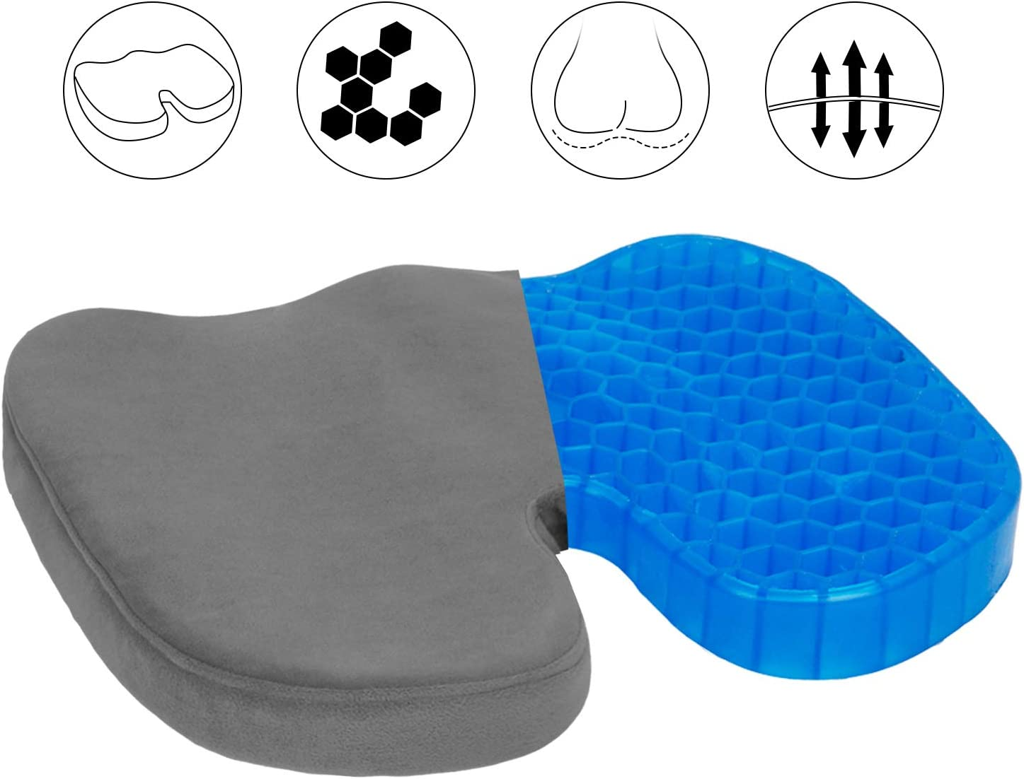 Cars and Wheelchair Sciatica and Tailbone Pain Relief Fit for Office Home Travels Asteri Orthopedic Honeycomb Gel Seat Cushion Lightweight Ergonomic Coccyx Cushion for Lower Back