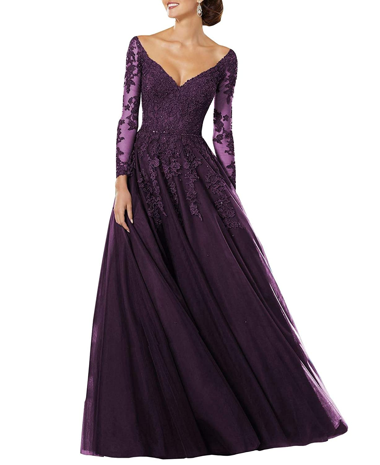 Darkmagenta Wanshaqin Women's Lace Appliqued VNeck Formal Evening Gown Sleeves Tulle Party Dress with Empire Jewelled Waist