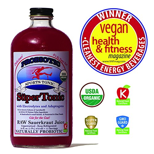 """Sports"" SuperTonic with electrolytes and adaptogens: organic, probiotic. 11 servings/bottle. No shipping charges with minimum. Pure juice of raw fermented sauerkraut, unpasteurized, kosher."
