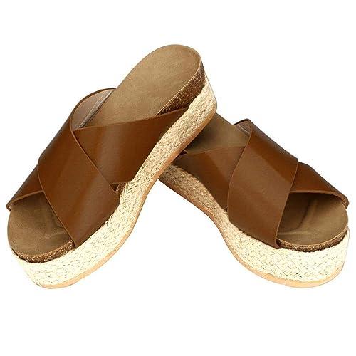 2738291005fcc Chenghe Women's Platform Sandals Casual Espadrilles Faux Leather Wedge  Summer Criss Cross Slide-on Open Toe Sandals