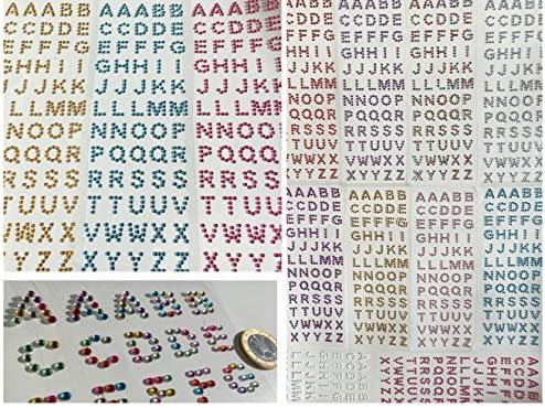 180 Stück Buchstaben Aus Verschiedene Glitzernde Strasssteine Selbstklebend Abc Alphabet Buchstaben Basteln Sticker Gltzersteine Schmucksteine Strass