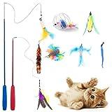 釣り竿2本 猫じゃらし ねこのおもちゃ 天然鳥の羽棒鈴付き 魚&羽&蝶々 かごねずみ cat toys