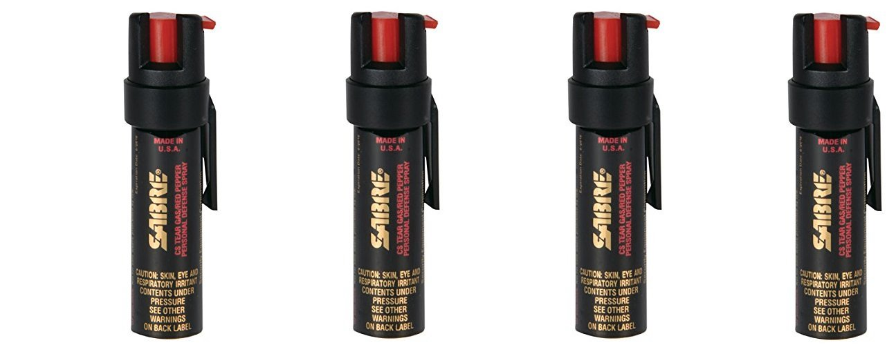 SABRE 3-IN-1 Pepper Spray - umuNdd Advanced Police Strength - Compact Size with Clip, Contains 35 Bursts (5x Other Brands) & 10-Foot (3M) Range, 4Pack (.75-Ounce)