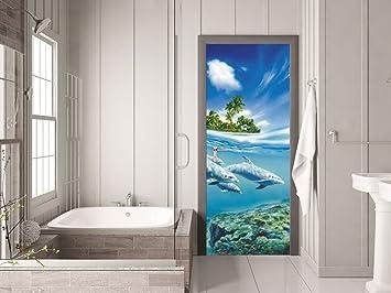 GRAZDesign 791079_92x205 Tür-Bild Delfine Unterwasser | Aufkleber ...