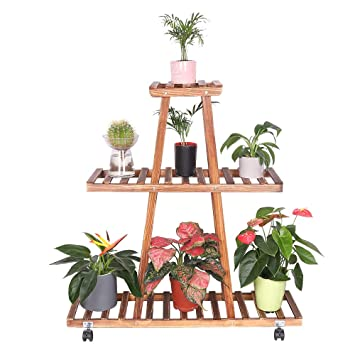 UNHO Estantería para Macetas con Ruedas Soporte de Madera para Flores con 3 Niveles Escalera Estantería Decorativa de Plantas para Exterior Interior Jardín ...