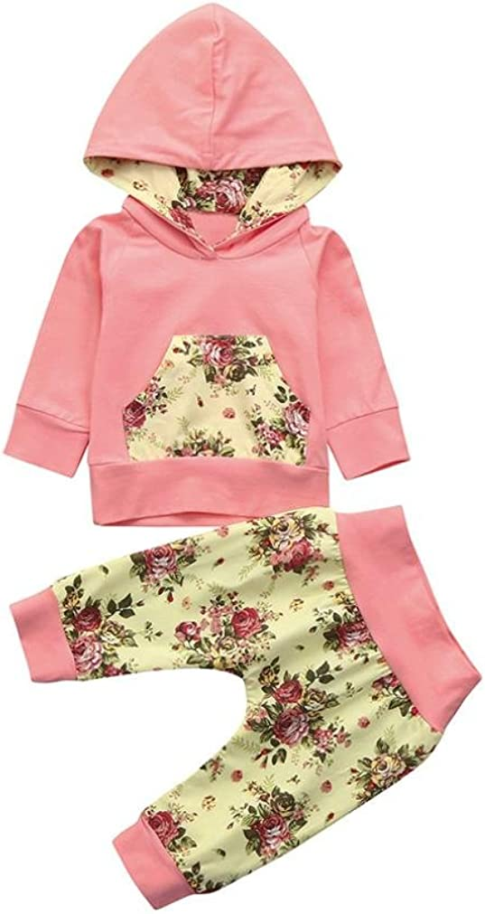 Adorable Toddler Baby Girls Clothes Set Floral Print Hoodie Tops+Pants Casual Outfits kaiCran Girls Sets