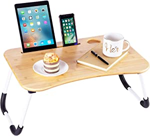 ZHU CHUANG Multifunctional Bamboo Lap Desk Breakfast Serving Bed Tray Sofa Tray with Foldable Legs Natural Color (Simple(Bamboo & Metal))