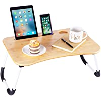 ZHU CHUANG Multifunctional Lap Desk Breakfast Serving Bed Tray Sofa Tray with Foldable Legs Natural Color 100% Solid…