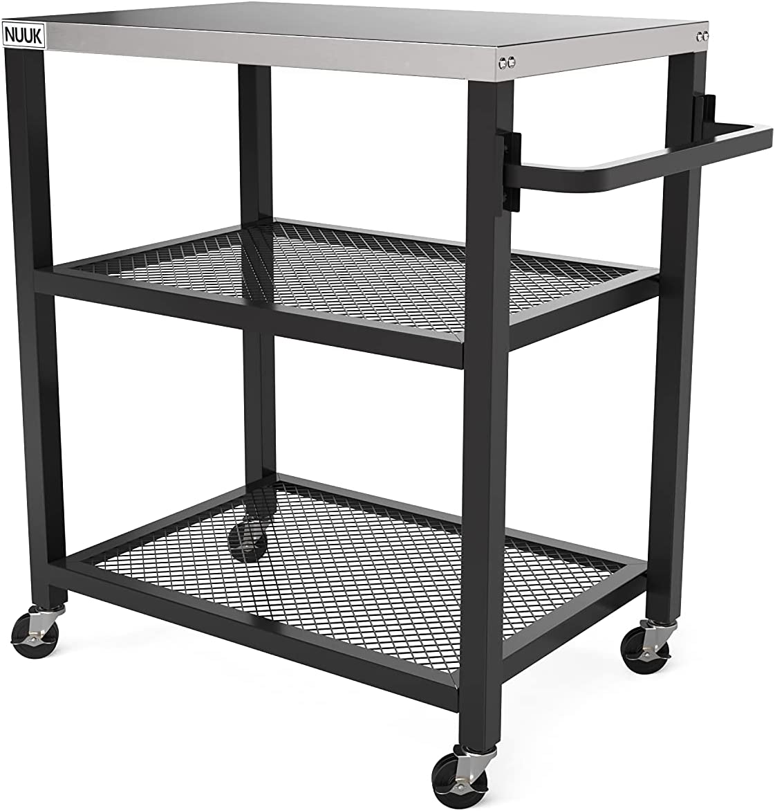 NUUK Three-Shelf Movable Outdoor Worktable, 16'' x 24'' Stainless Steel Commercial Kitchen Food Prep Table, Flattop Dining Cart Table, Outdoor Bar Table