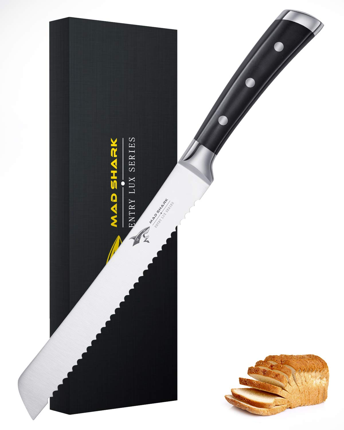 Bread Kinfe - MAD SHARK 8 Inch Pro Serrated Bread Cutter,German High Carbon Stainless Steel Cake Knife with Ergonomic Handle, Ultra Sharp Baker's Knife by MAD SHARK