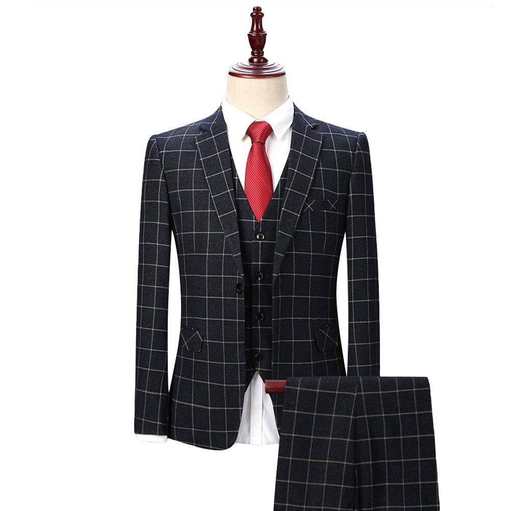 3 Teilig Herren Anzug Smoking mit Weste Jacke und Hose für Business Hochzeit und Party Ein Oder Zwei Knopf 2EHJCN