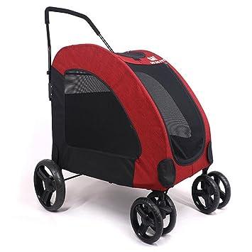 LQUIDE Cochecito Plegable para Mascotas,Carro,Porta Perros,Espacio Grande para Varios Perros Pequeños Y Medianos, Perros Grandes, No Más DE 60 Kg,Red: ...
