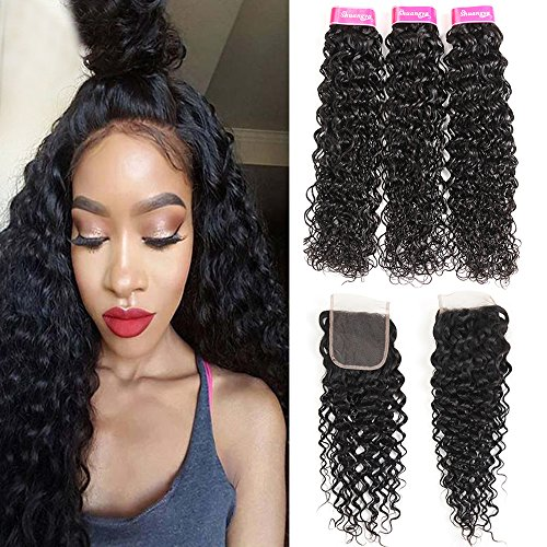 8A Water Wave Bundles With Closure Free Part (16 18 20+14) 100% Unprocessed Wet and Wavy Human Hair Weave Bundles With Lace Closure Shuangya hair