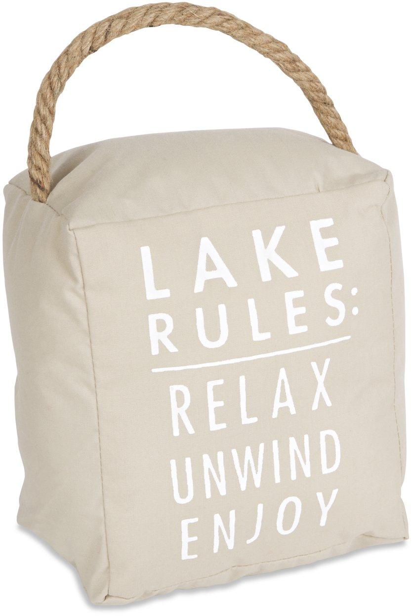 Open Door Décor Door Stoppers Lake Rules: Relax Unwind Enjoy Tan