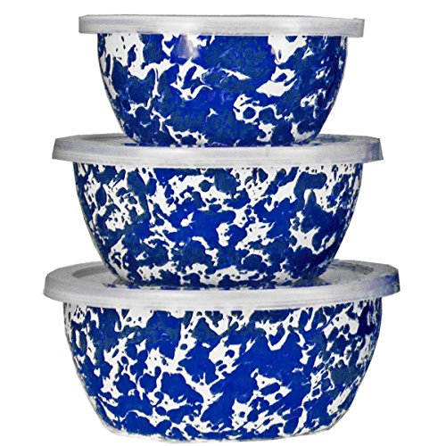 Enamelware - Cobalt Blue Swirl Pattern - Set of 3 Storage Bowls with Lids