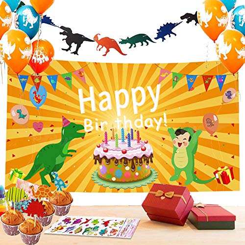 Dinosaur Party Decorations-52pack Dinosaur Party Supplies for kids,Super Huge Birthday Party Banner,Dinosaur Cake Topper and Latex Balloons with Sticker for Dino Jungle Jurassic Dinosaur Birthday Part