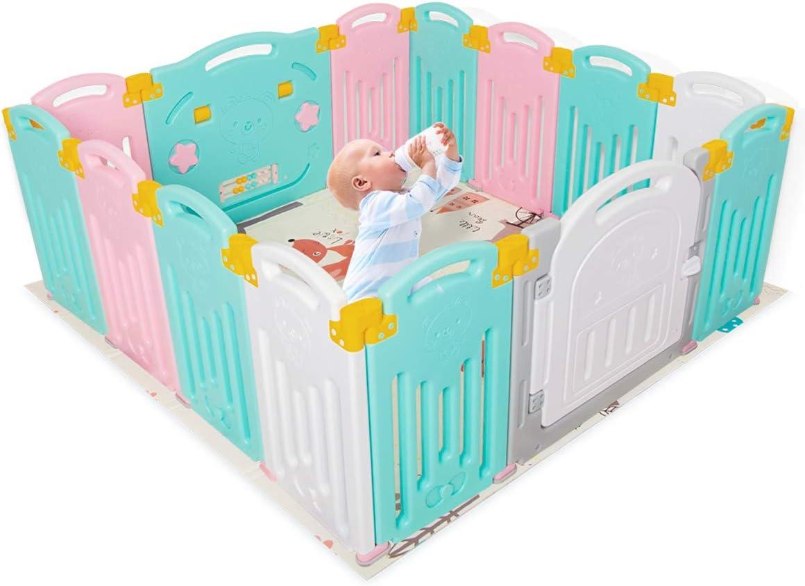 Parque infantil plegable para niños, centro de actividades de seguridad, patio, hogar, interior y exterior (14Panel Multi)