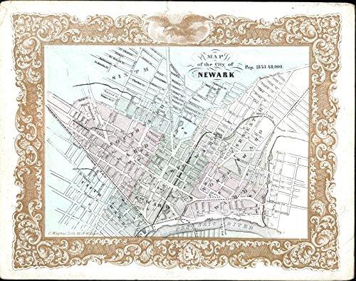 Newark New Jersey w/ 1853 population rare original Magnus map city plan gold - W City Jersey The