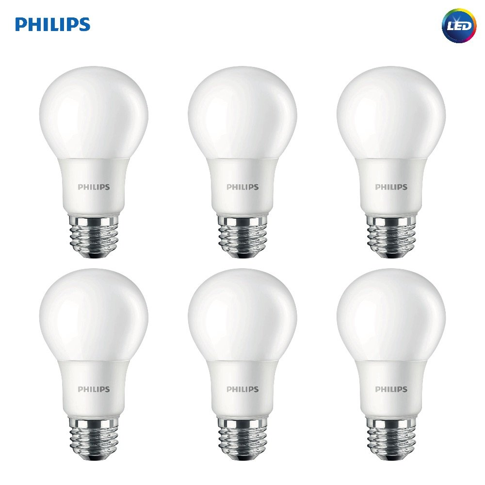 Philips 462036 LED Non-Dimmable A19 Frosted Light Bulb: 1500-Lumen, 5000-Kelvin, 14-Watt (100-Watt Equivalent), E26 Base, Daylight, 6-Pack by Philips