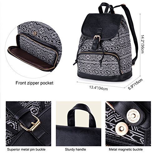 Vibiger Stylish Canvas Backpack Casual Bag Drawstring Backpacks School Bag Daypack with Delicate Printing for Women (B-Black) by VBIGER (Image #2)