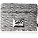 Herschel Supply Co. Men's Charlie RFID Blocking Card Holder Wallet, Light Grey Crosshatch