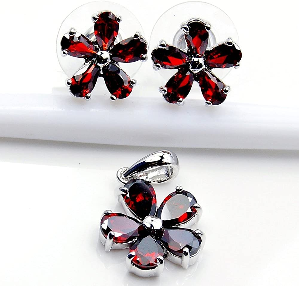 Sterling Silver Filigree Flower Red CZ Stud Earrings /& Pendant Set