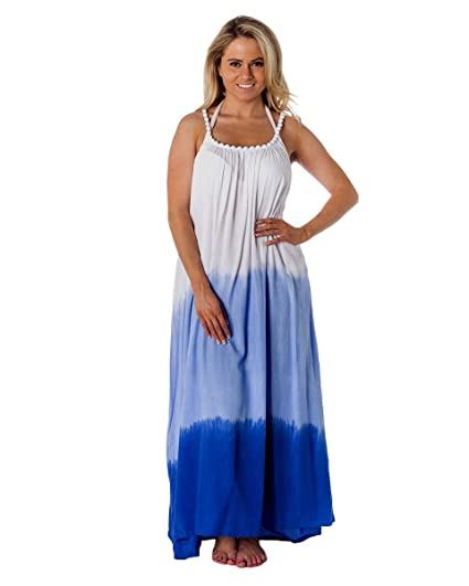 6511d0432 Womens Print Beaded Strap Maxi Beach Dress OneSize Blue Ombre at Amazon  Women's Clothing store: