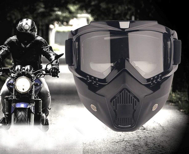 YIQI Motocicleta Gafas de máscara de Motocross con extraíble y Filtro de Boca para Vintage Cascos