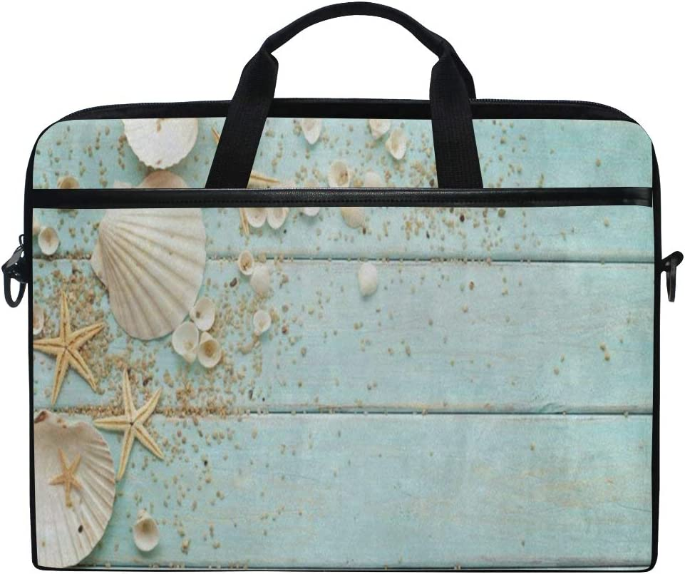 "Laptop Bag Ocean Theme Seashell Starfish Blue Wooden 14"" 15"" Laptop Case Notebook Briefcase Tablet Handbag Sleeve Computer Backpack for Men Women Travel Business School"