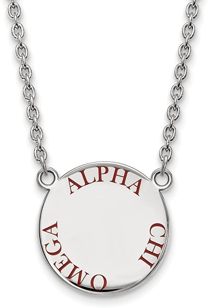 Greek Sororities Sterling Silver LogoArt Gamma Phi Beta Large Enl Pend with Necklace Size One Size
