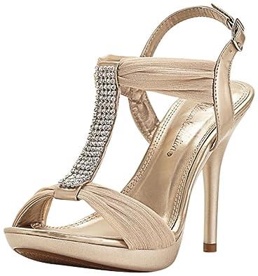 4b949e61b37b80 David s Bridal Crystal T-Strap High Heel Sandals Style BELIZE12