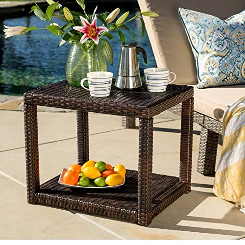Patio Dinning Table Clearance, End/Accent Outdoor Bedside Furniture for Living Room, Small Brown Upholstered Contemporary Side Wicker Finish Table & ()